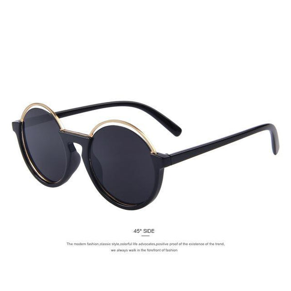 HAGA Shop Women's Sunglasses C01 Black Women Sunglasses Round Retro UV400