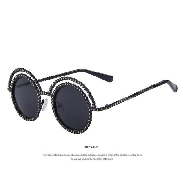 HAGA Shop Women's Sunglasses C01 Black Women Sunglasses Round Vintage Shades Bead Alloy Frame UV400