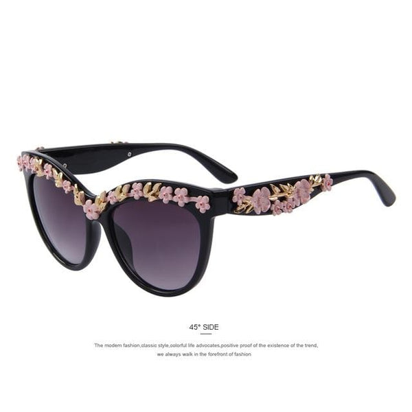 HAGA Shop Women's Sunglasses C01 Rose Cat Eye Sunglasses Metal Flower