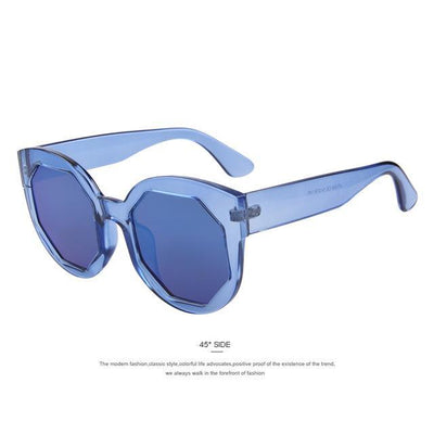 HAGA Shop Women's Sunglasses C02 Blue Women Sunglasses Polygon Lens Cat Eye Shades Candy Color