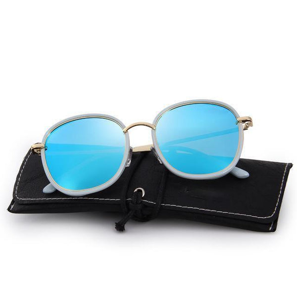 HAGA Shop Women's Sunglasses C03 Blue Women Sunglasses Polarized Metal Temple 100% UV Protection