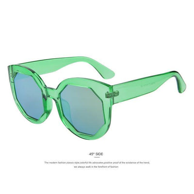 HAGA Shop Women's Sunglasses C03 Green Women Sunglasses Polygon Lens Cat Eye Shades Candy Color