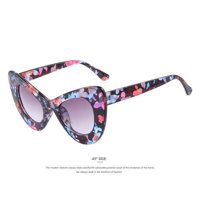 HAGA Shop Women's Sunglasses C04 Flower Women Retro Cat Eye Sunglasses