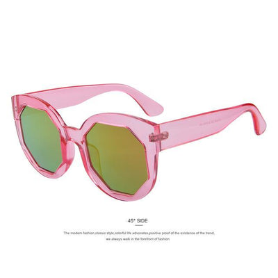 HAGA Shop Women's Sunglasses C04 Pink Women Sunglasses Polygon Lens Cat Eye Shades Candy Color
