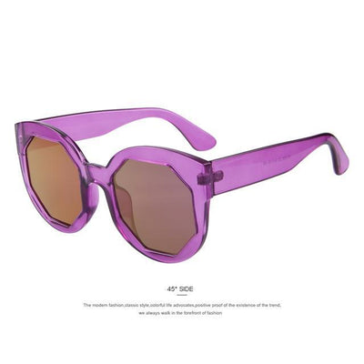 HAGA Shop Women's Sunglasses C05 Purple Women Sunglasses Polygon Lens Cat Eye Shades Candy Color