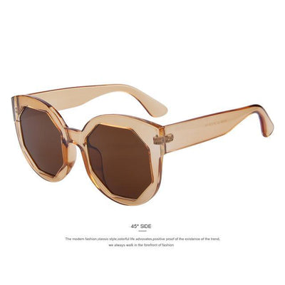 HAGA Shop Women's Sunglasses C06 Brown Women Sunglasses Polygon Lens Cat Eye Shades Candy Color