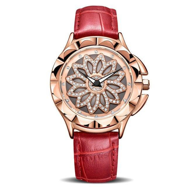 HAGA Shop Women's Watches Red Luxury Women Watches Fashion Rotated Dial Ladies Quartz Watch Red Leather