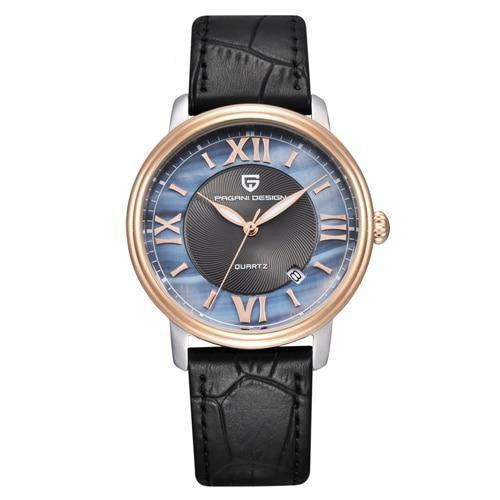 HAGA Shop Women's Watches rose gold black B Ladies Fashion Quartz Watch Women Leather Casual Dress Women's Watch Rose Gold Crystal