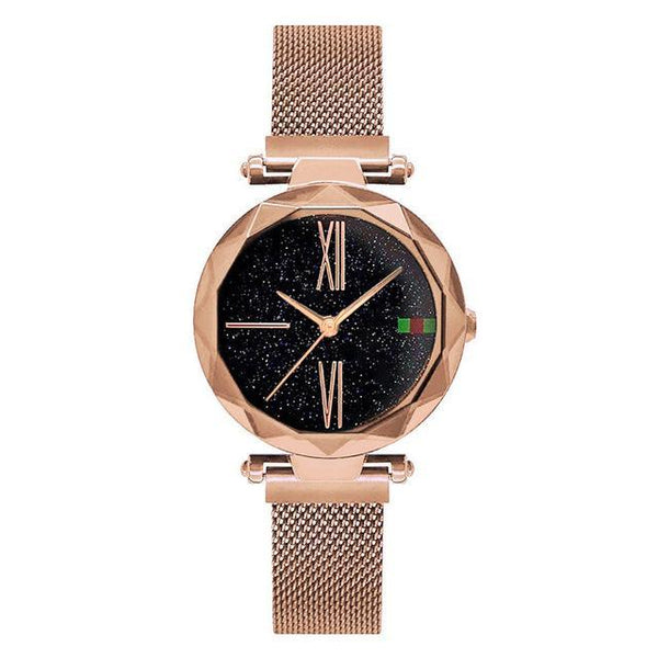 HAGA Shop Women's Watches Rose Gold Luxury Rose Gold Women Watches Minimalism Starry sky Magnet Buckle Fashion Casual Female Wristwatch Waterproof Roman Numeral