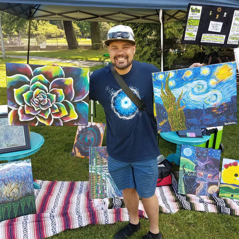 "Josh took home original paintings ""Tranquility"" and ""Meteor Meteor Night"""
