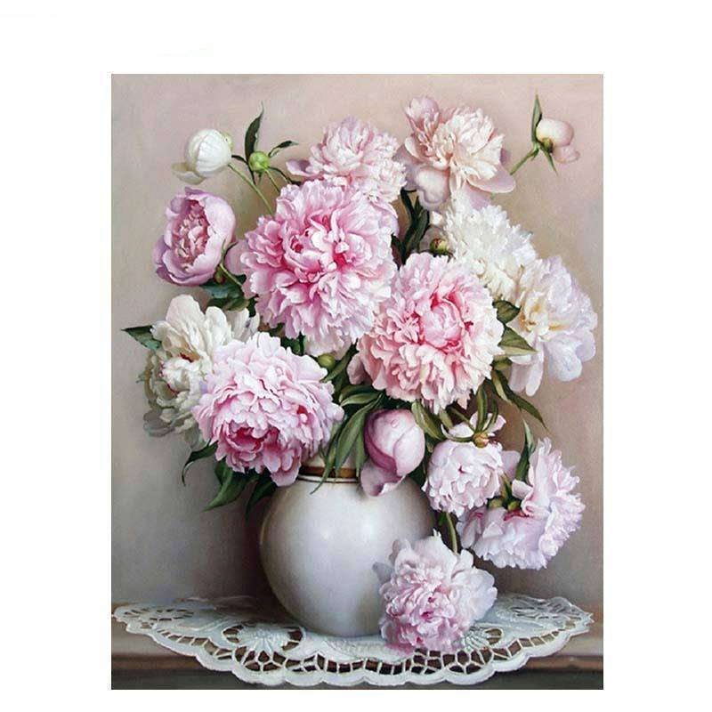 Paint by numbers pink and white flowers in vase kit swigg trading co double tap to zoom mightylinksfo