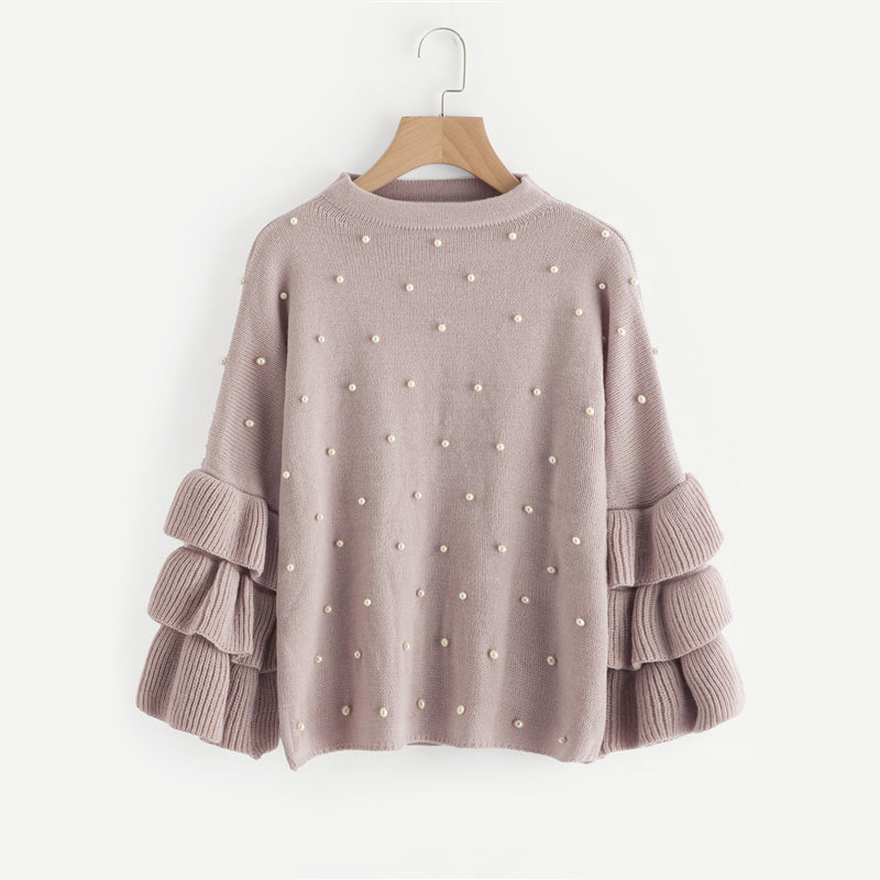 Women's Pearl Beading Ruffle Sleeve Jumper PINK