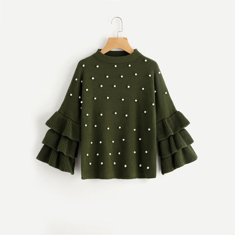 Women's Pearl Beading Ruffle Sleeve Jumper Green