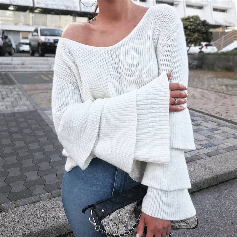 Womens Oversized V-Neck Warm Knitted Cardigans