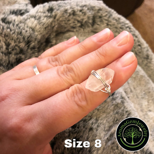 Quartz crystal wire wrapped ring