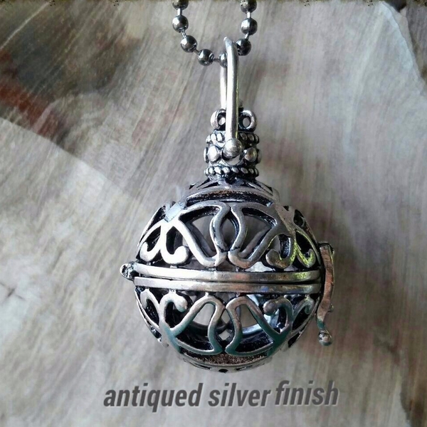 Essential oil diffuser necklace - bola, cage, antiqued silver finish