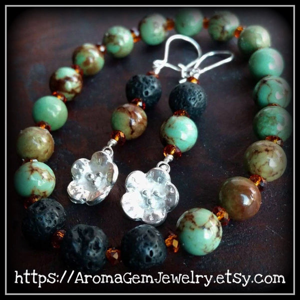 Essential oil diffuser bracelet/earring set - Magnesite, Crystal - leaf