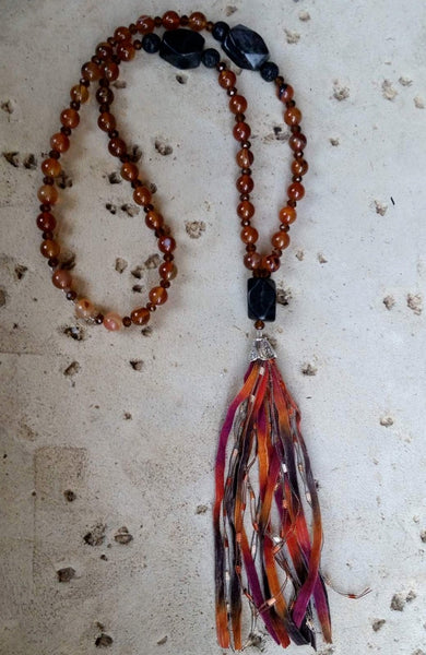 Essential oil diffuser necklace - Red Agate, Blackstone - tassel