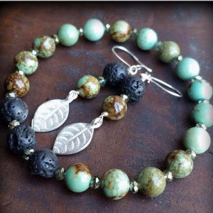 Essential oil diffuser bracelet/earring set-Magnesite, leaf