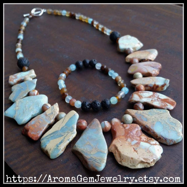Essential oil diffuser necklace/bracelet set - African Opal