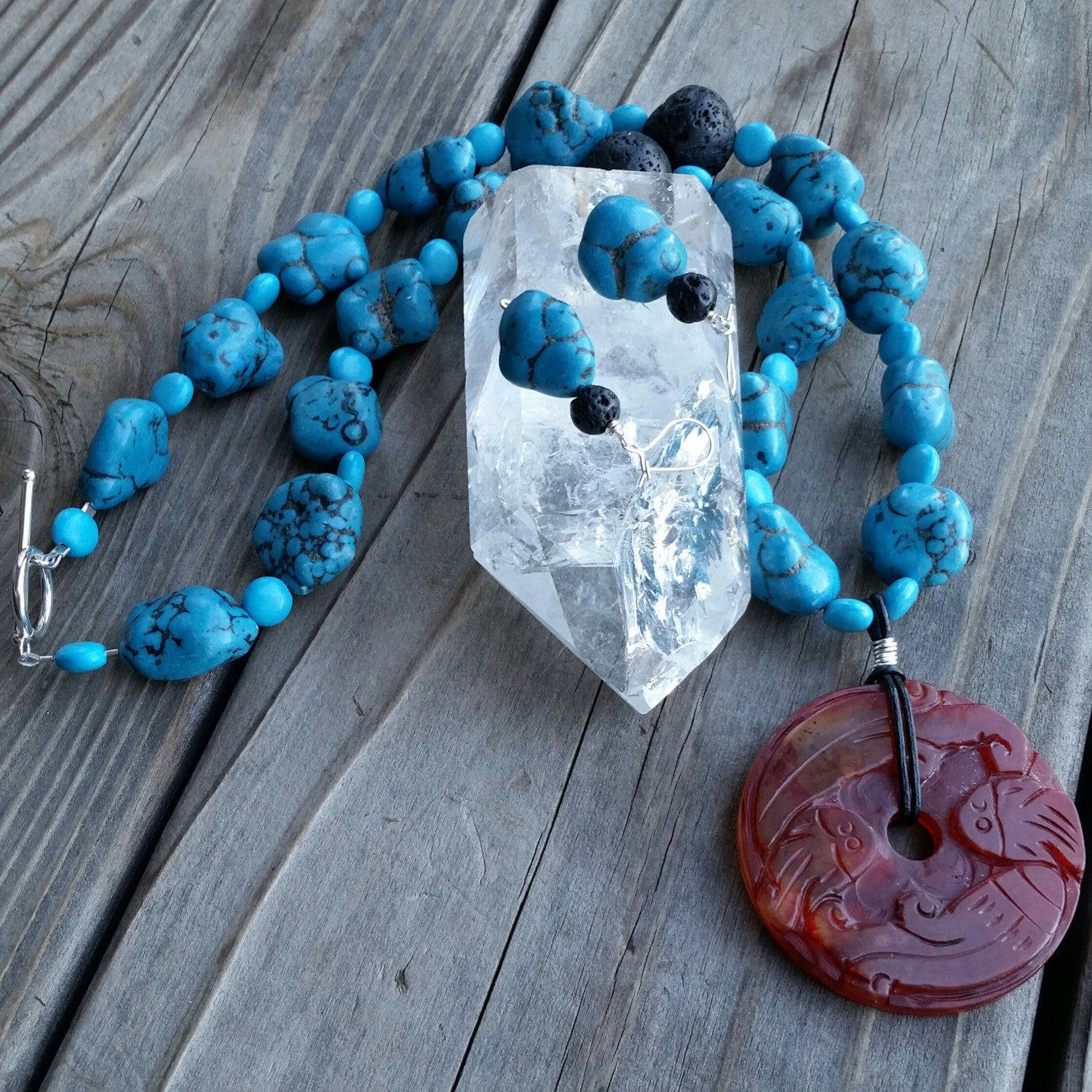 Essential oil diffuser necklace/earring set - blue Magnesite, agate