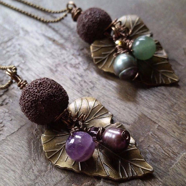 aromatherapy necklace leaf gemstone lava antiqued bronze amethyst aventurine fall