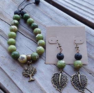 Essential oil diffuser bracelet/earring set-green sediment jasper-antiqued bronze