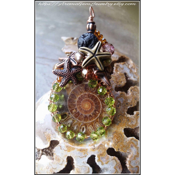 Essential oil diffuser necklace-Ammonite - wire wrapped copper