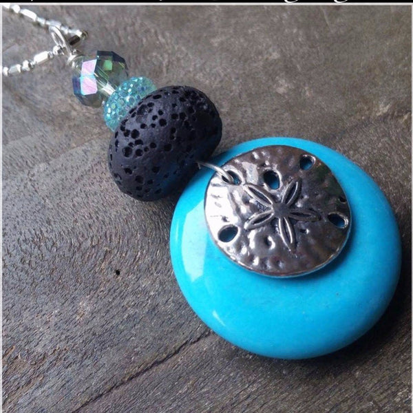 Essential oil diffuser necklace  - Ocean Turquoise sand dollar