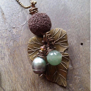 Essential oil diffuser necklace - cultured pearl-Ocean Turquoise sand dollar