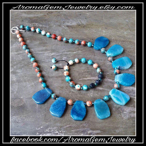 Essential oil diffuser necklace/Bracelet set - Ocean blue agate