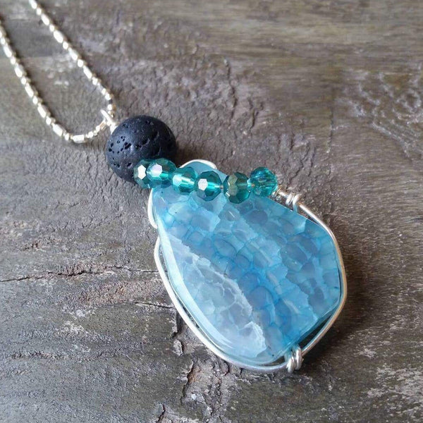 Essential oil diffuser necklace - agate - sterling silver