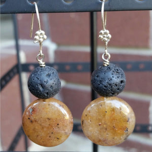 Essential oil diffuser earrings - Rutilated Quartz