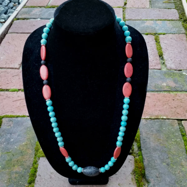 Essential oil diffuser necklace/bracelet/ earring set - Red Howlite and Magnesite