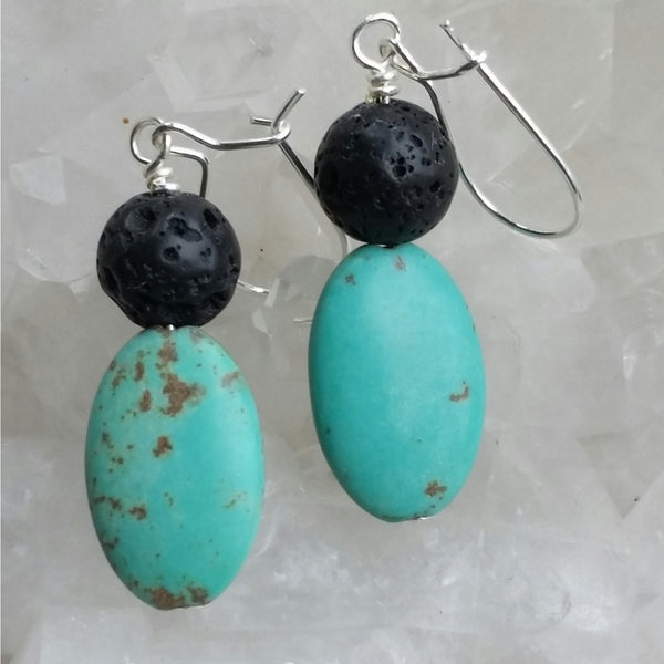 Essential oil diffuser earrings - blue Magnesite - Sterling Silver