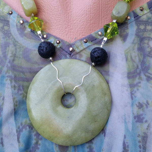 Essential oil diffuser necklace - New Jade, Sterling Silver