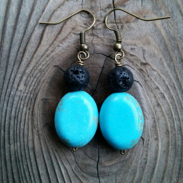 Essential oil diffuser earrings - blue Magnesite