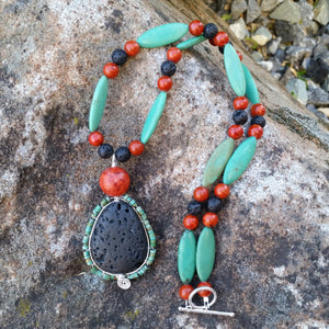 Essential oil diffuser necklace/earring set - blue Magnesite, red coral, wire wrapped