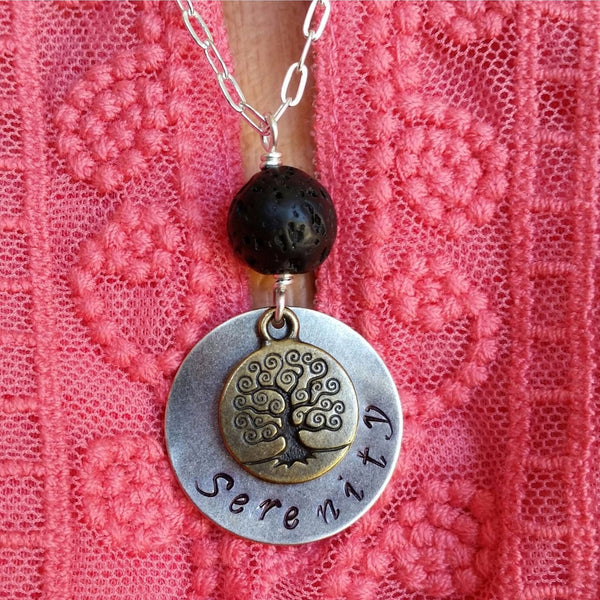 "Essential oil diffuser necklace - Hand stamped ""Serenity"" and Tree of Life"