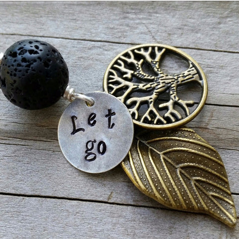 "Essential oil diffuser necklace - Hand stamped ""Let Go""- Tree of Life"