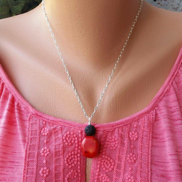 Essential oil diffuser necklace - red coral