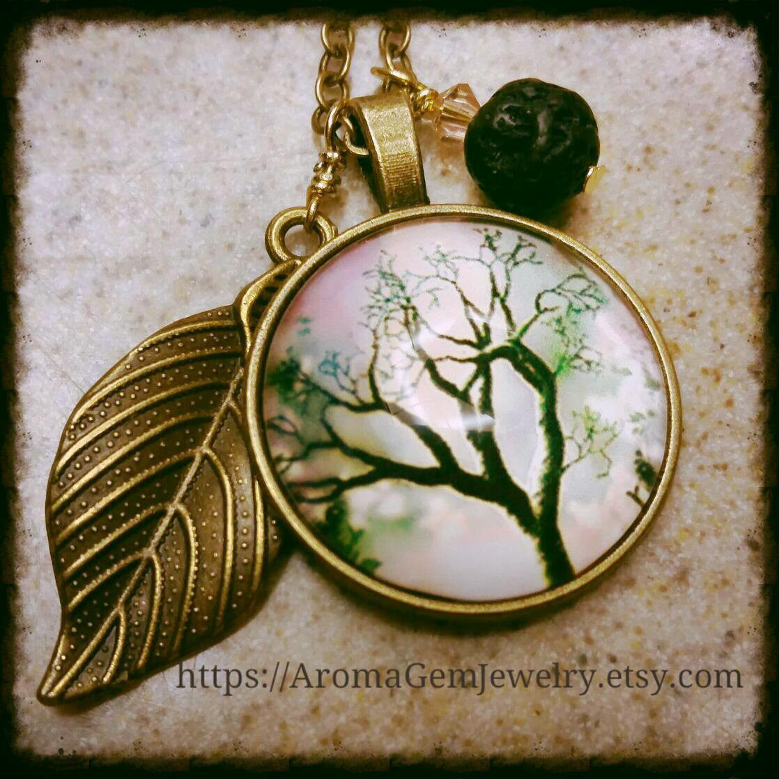 Essential oil diffuser necklace- Tree of Life