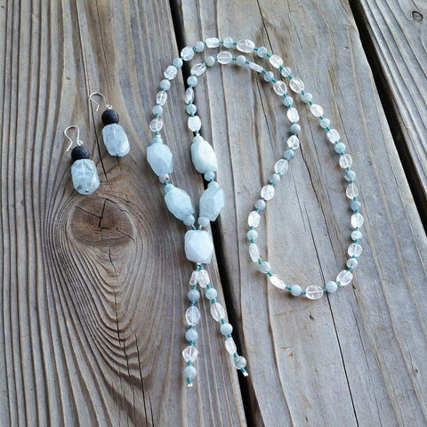 Essential oil diffuser necklace/earring set - Aquamarine