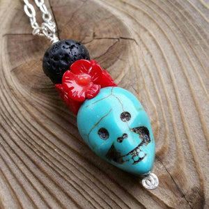 Essential oil diffuser necklace - blue Magnesite, red coral - skull - Sterling Silver