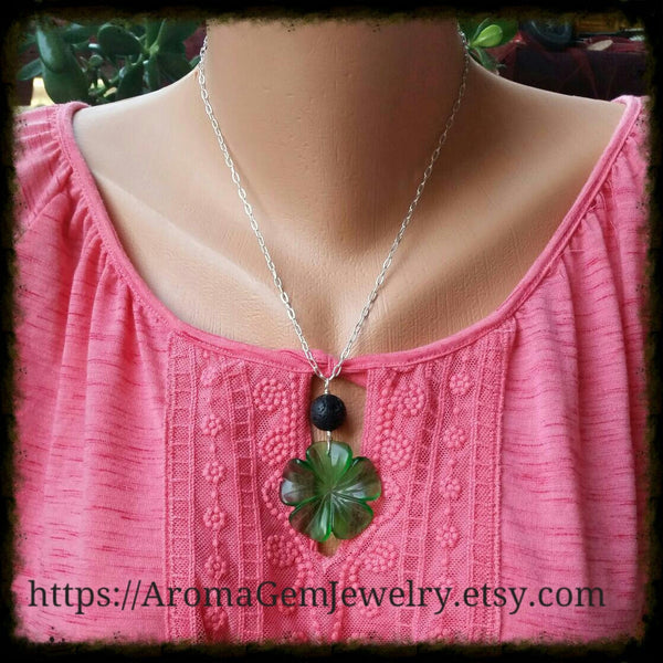Essential oil diffuser necklace  - glass flower