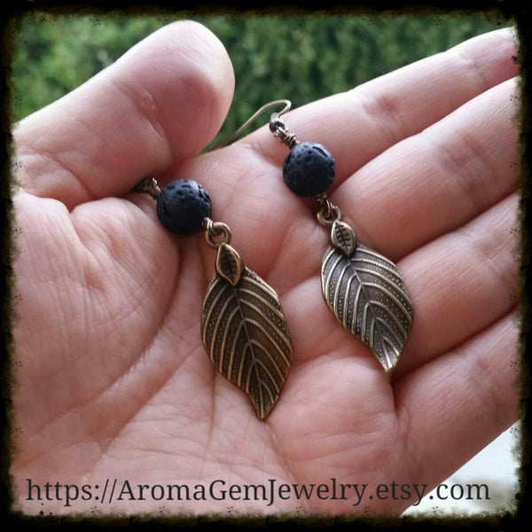 Essential oil diffuser earrings - antiqued bronze-leaf