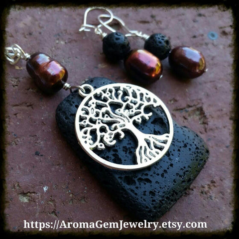 Essential oil diffuser necklace/earring set- cultured pearl- Tree of Life
