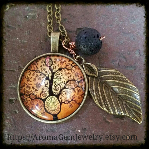 Essential oil diffuser-Necklace-antiqued bronze-Tree of Life