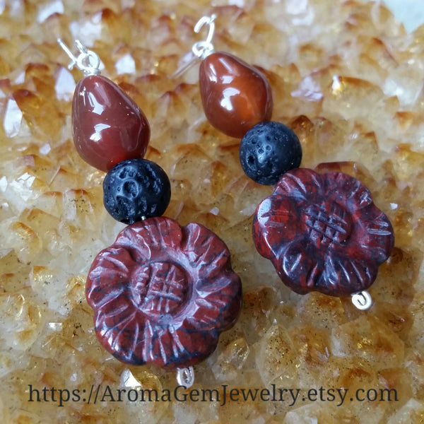 Essential oil diffuser earrings - Brecciated Jasper