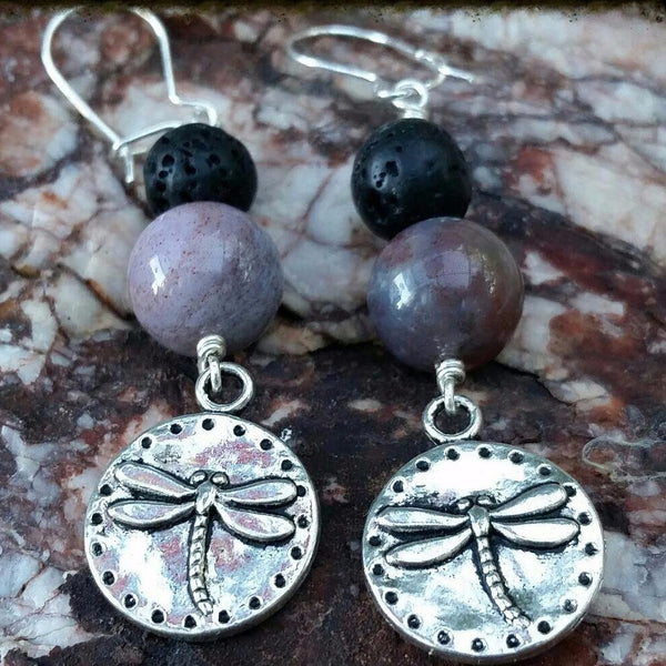 Essential oil diffuser earrings - Fancy Jasper -dragonfly- Sterling Silver